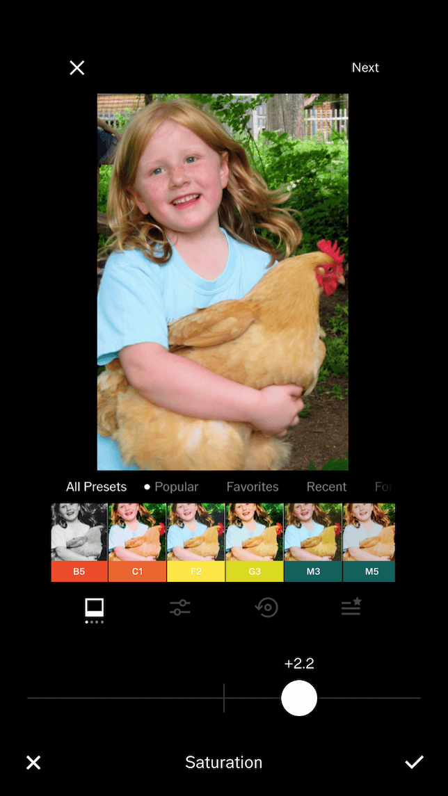 A screenshot showing a photo after saturation is applied in VSCO.