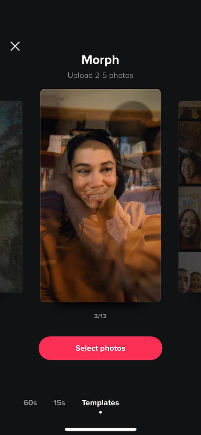 Second screenshot showing Face Morph on TikTok.