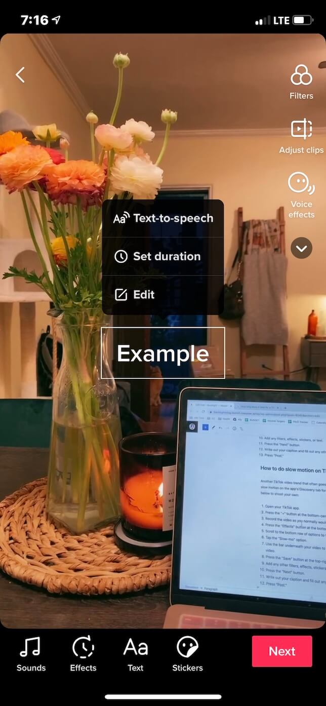 Screenshot showing how to add text to a TikTok at different times.