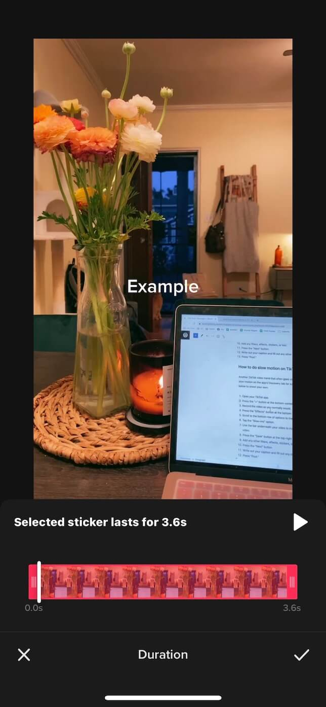 Second screenshot showing how to add text to a TikTok at different times.