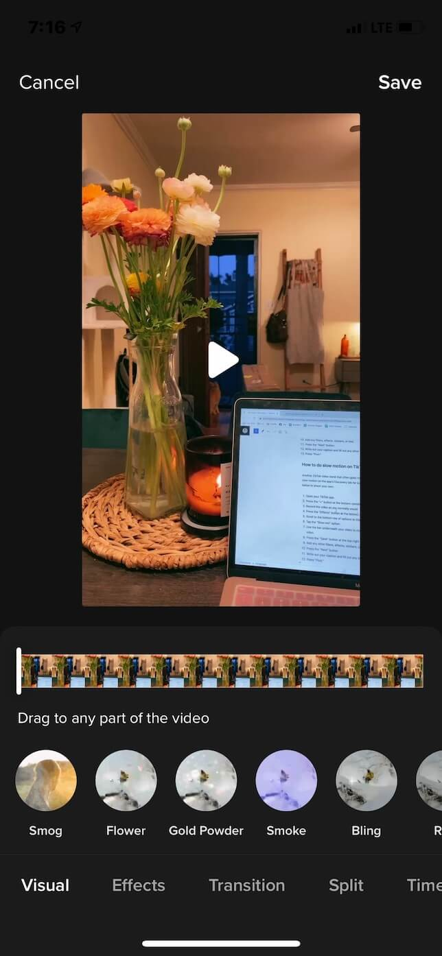 Second screenshot showing how to do a slow-motion video on TikTok.