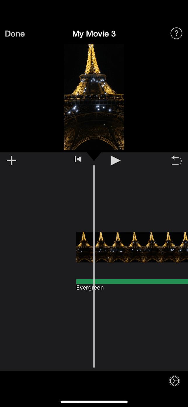 Screenshot of the iMovie timeline.