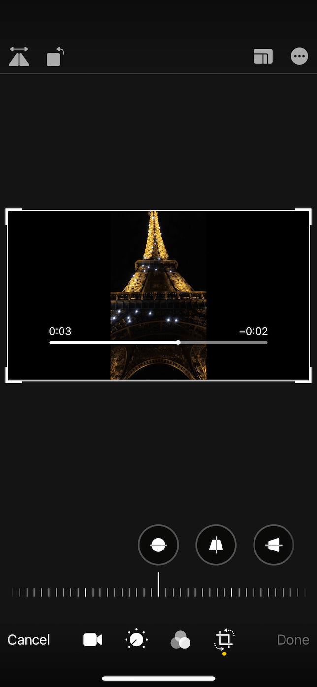 Screenshot of the Crop screen in the Photos iOS app.