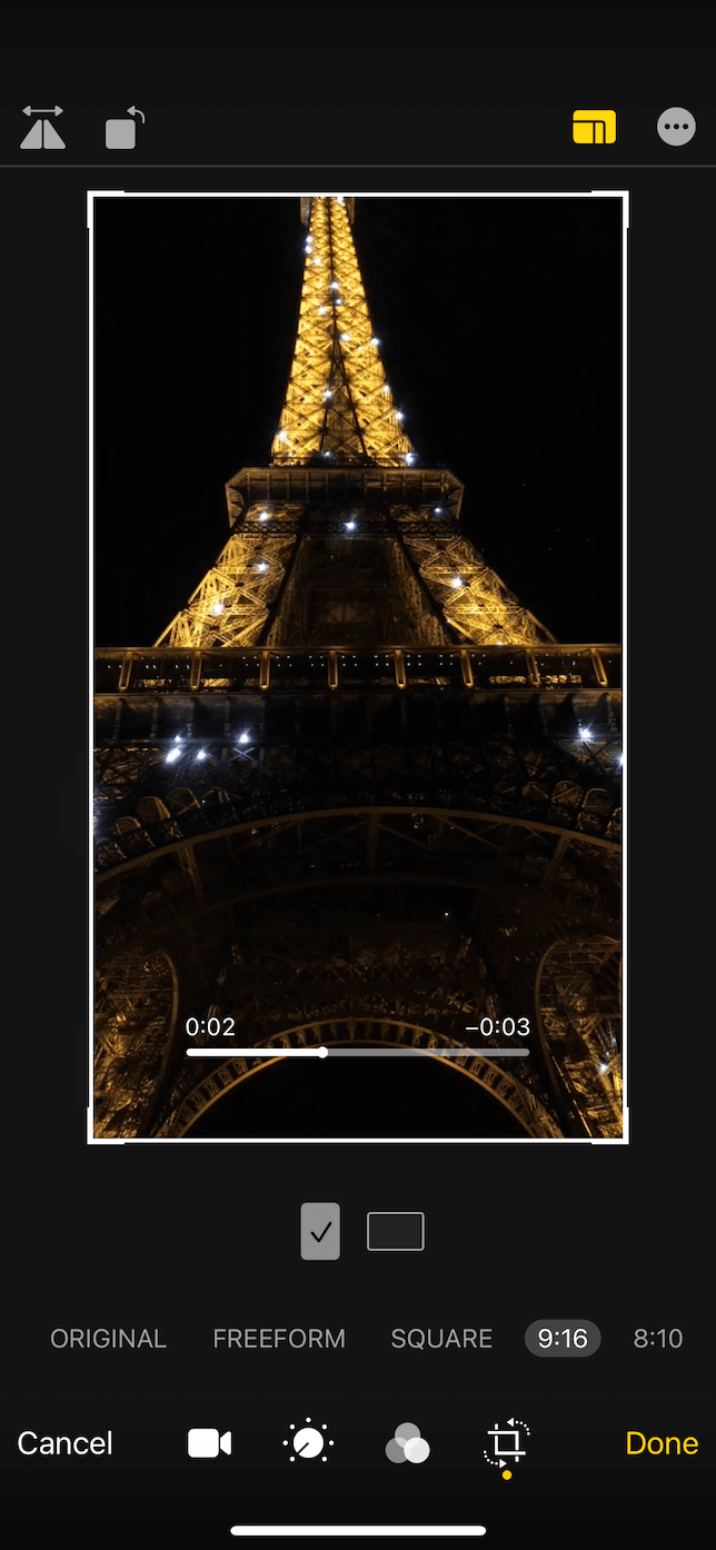 Screenshot of a 9:6 video crop in the Photos iOS app.
