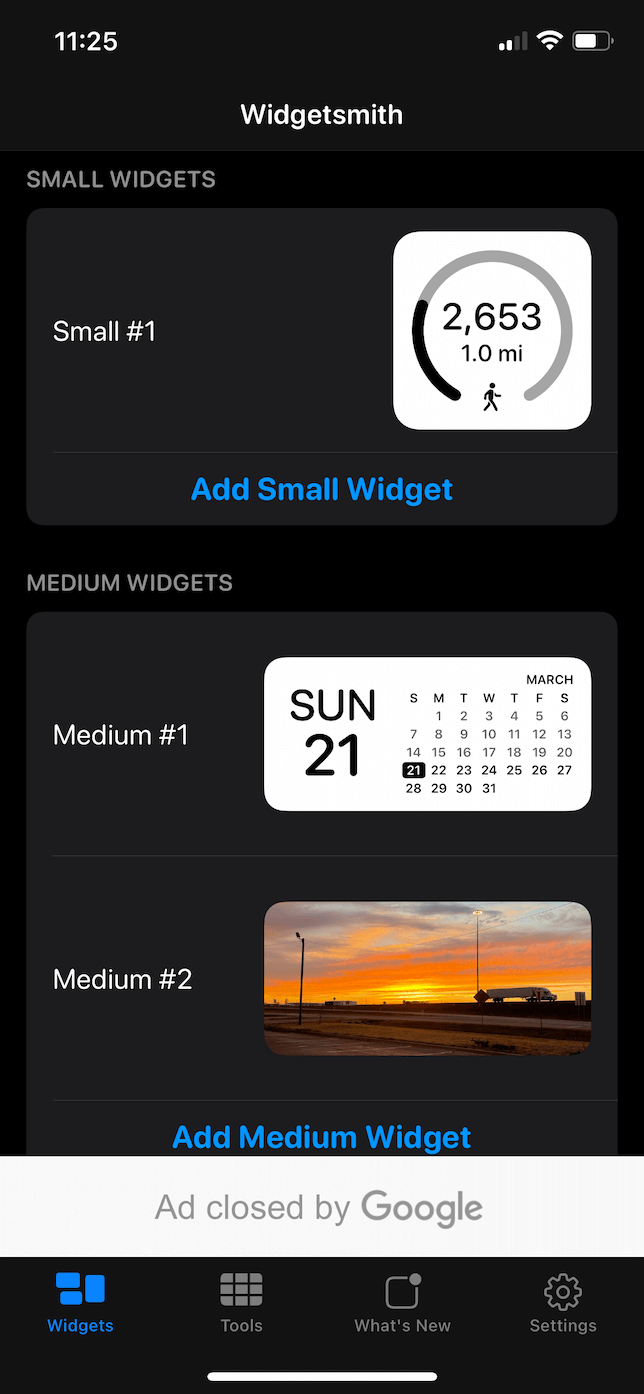 Screenshot of Widgetsmith.