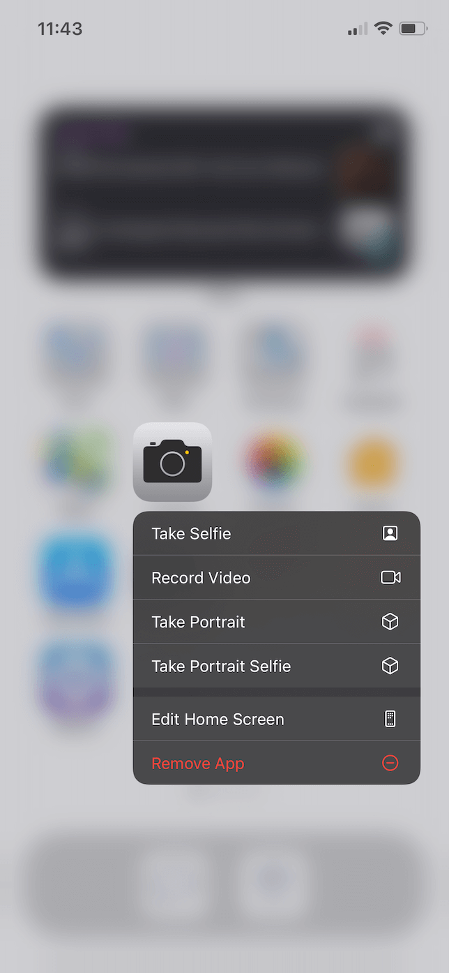 Screenshot of hiding an app in iOS 14.