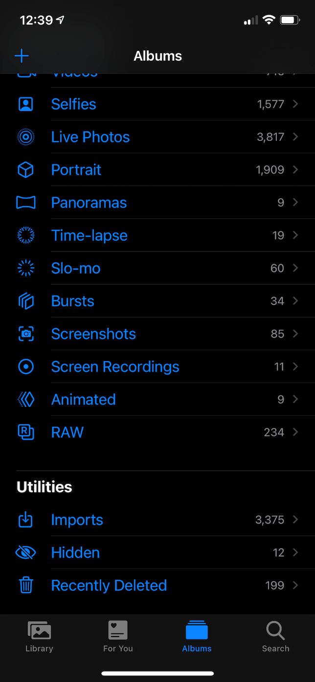 Screenshot of Albums tab in the Photos app.
