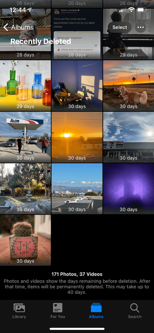 Screenshot of Recently Deleted album in the Photos app.