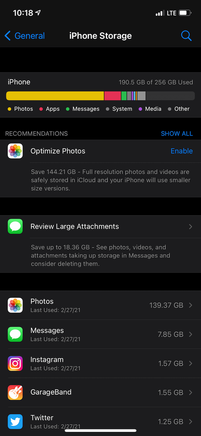 Screenshot of the iPhone Storage page in the Settings app.