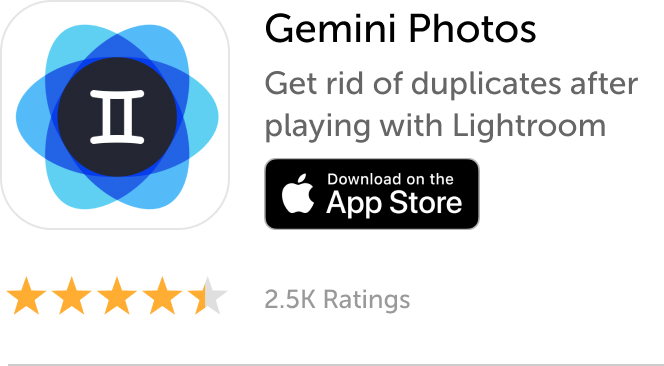 Mobile banner: Download Gemini Photos to get rid of duplicates after playing with Lightroom