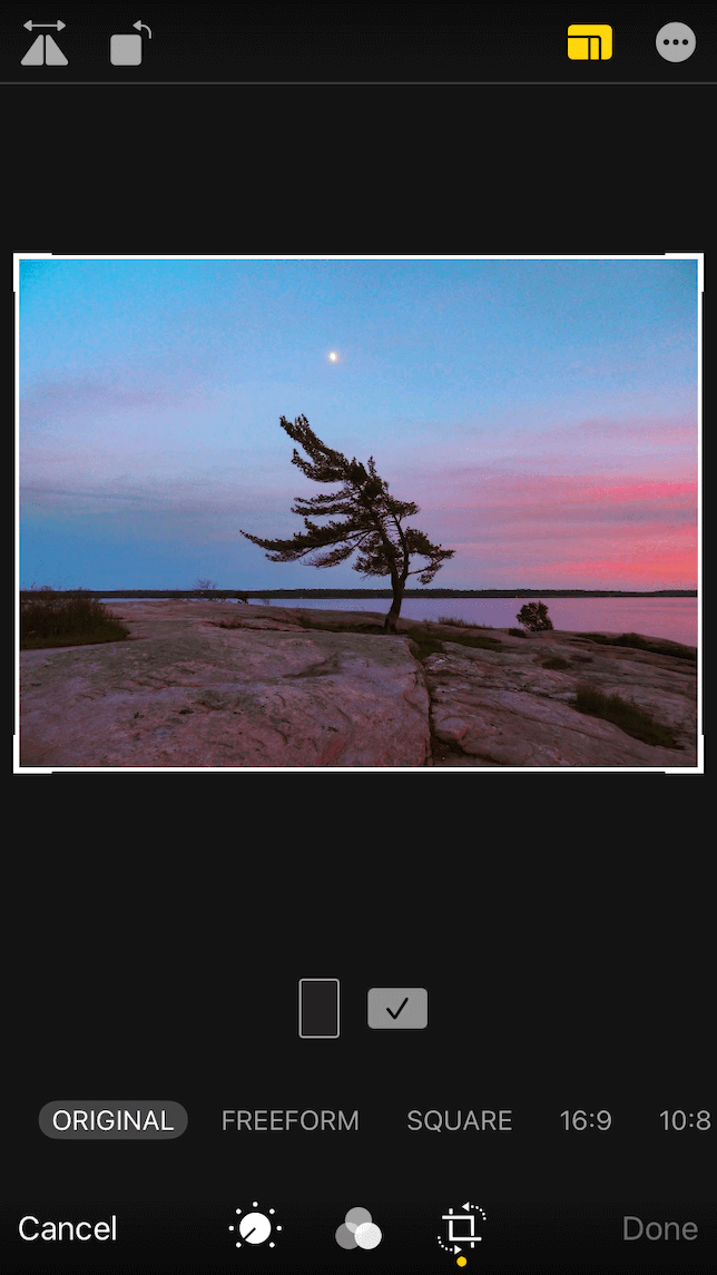 A screenshot demonstrating how to crop a photo to the rule of thirds.