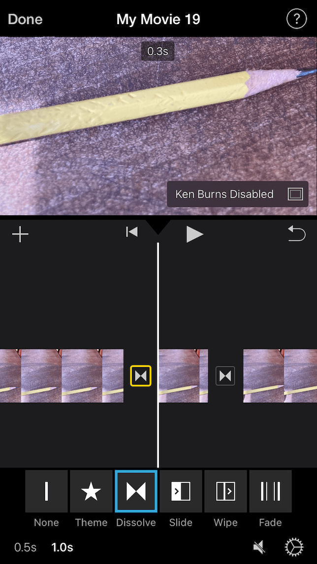 A screenshot demonstrating the editing process for a stop-animation video in iMovie.