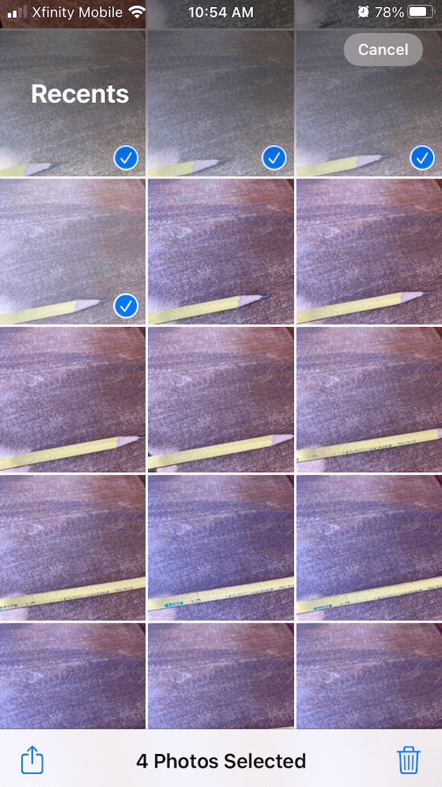 A screenshot of choosing photos from the iPhone library for a stop-motion video.