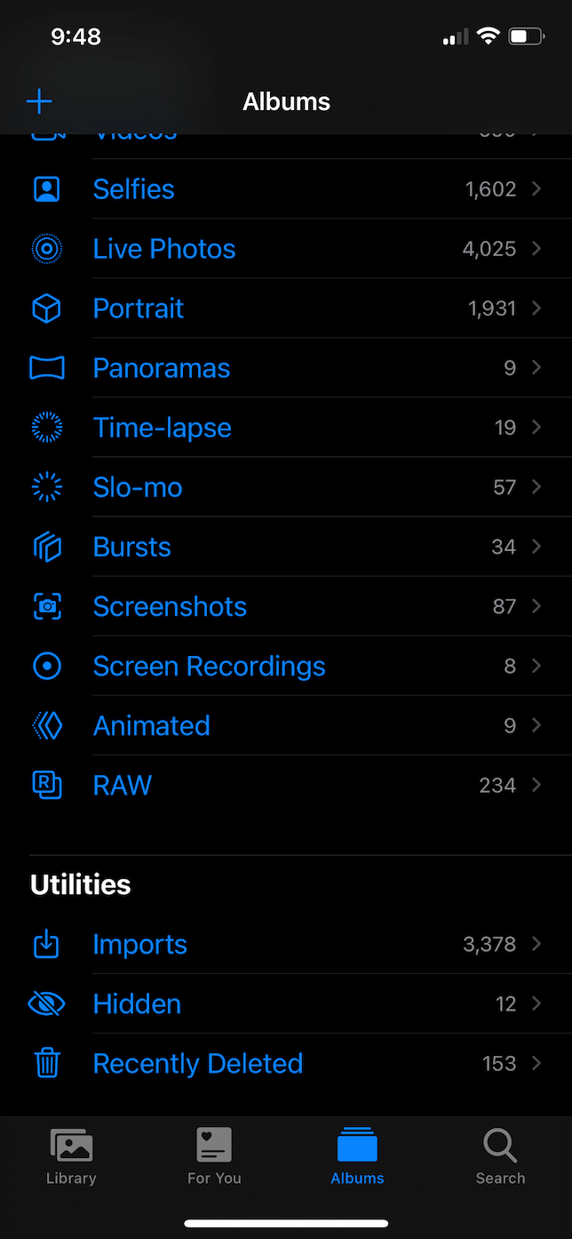 Screenshot of the Albums tab in the Photos app.