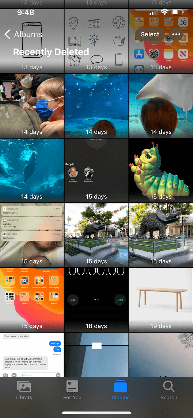 Screenshot of the Recently Deleted album in the Photos app.