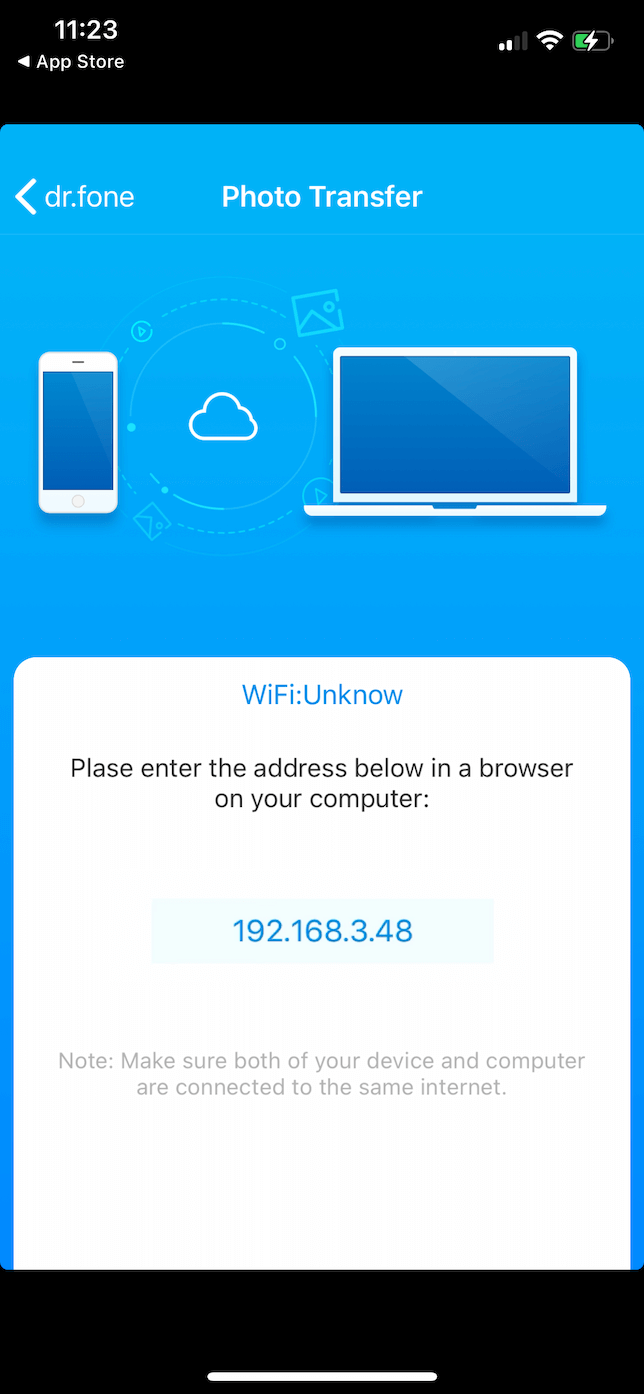 Screenshot of the connect to PC screen in Dr. Fone on iOS.