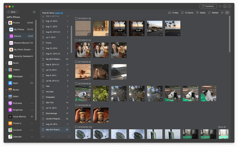 Screenshot of AnyTrans running on macOS.