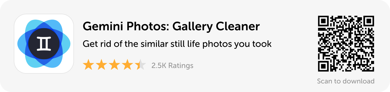 Desktop banner: Download Gemini Photos and get rid of the similar still life photos you took