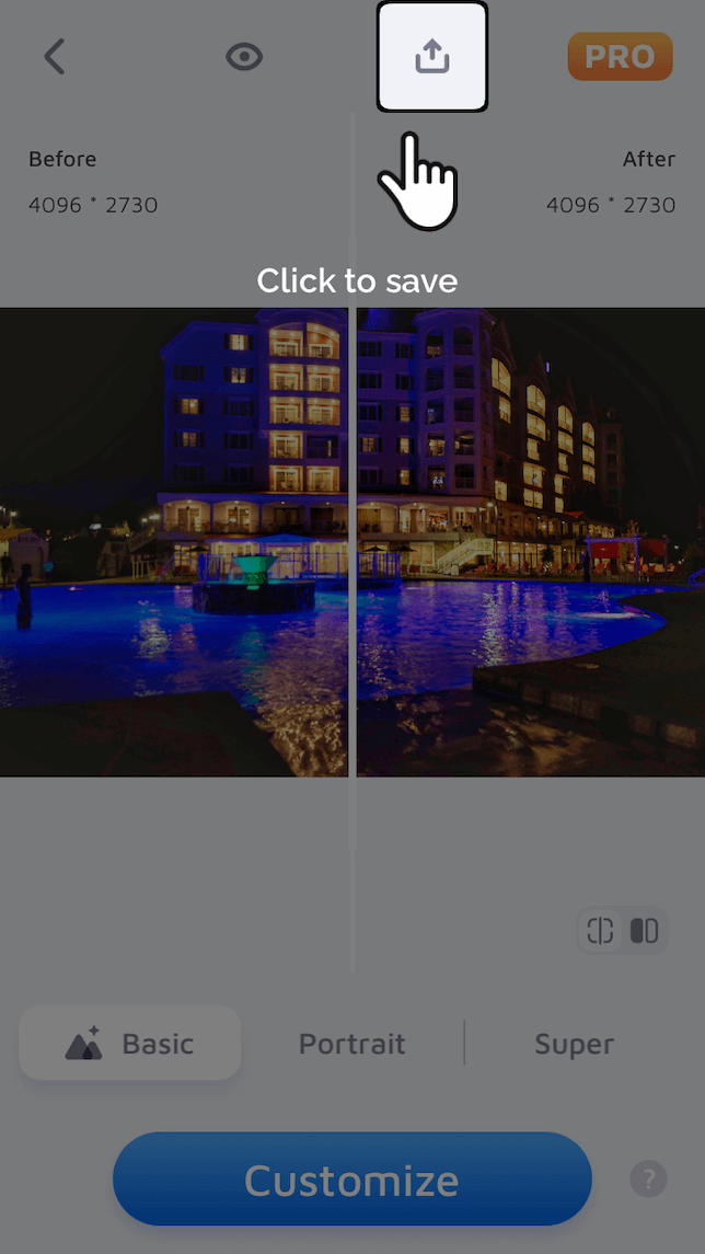 A screenshot showing a before and after photo using EhanceFox to reduce photo noise.