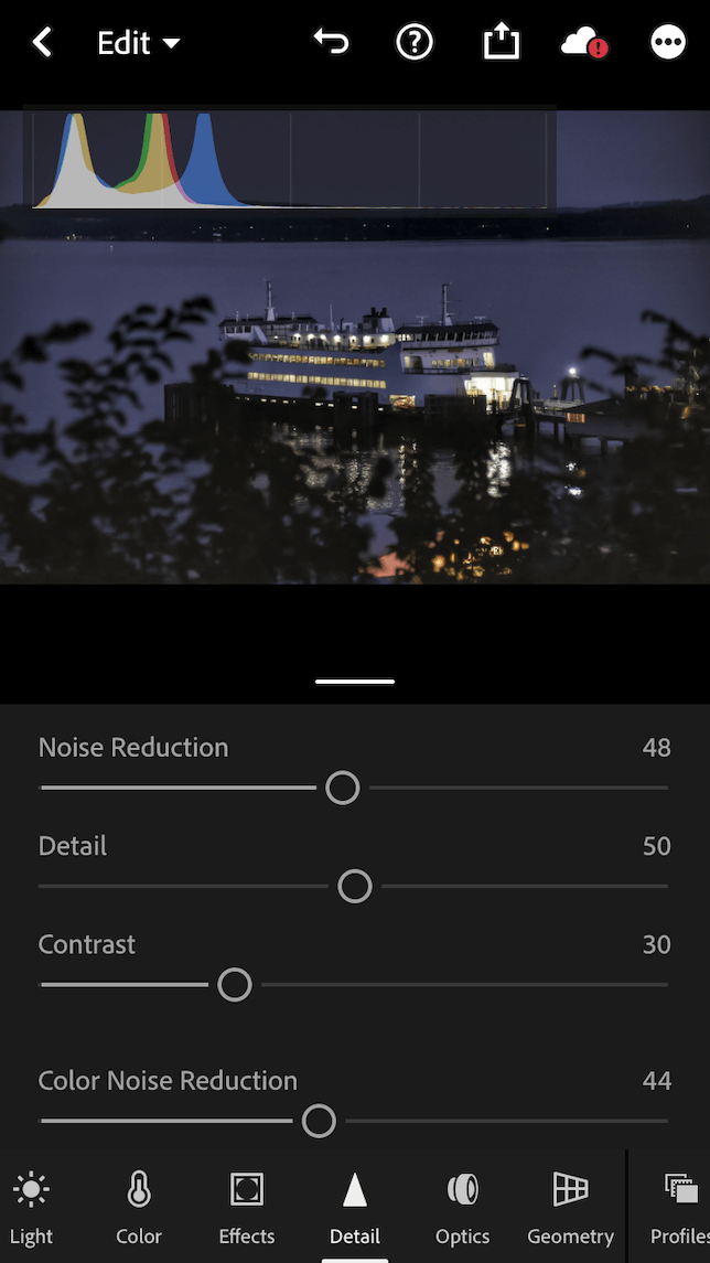 A screenshot showing the Details panel in Lightroom Mobile for reducing noise in a photo.