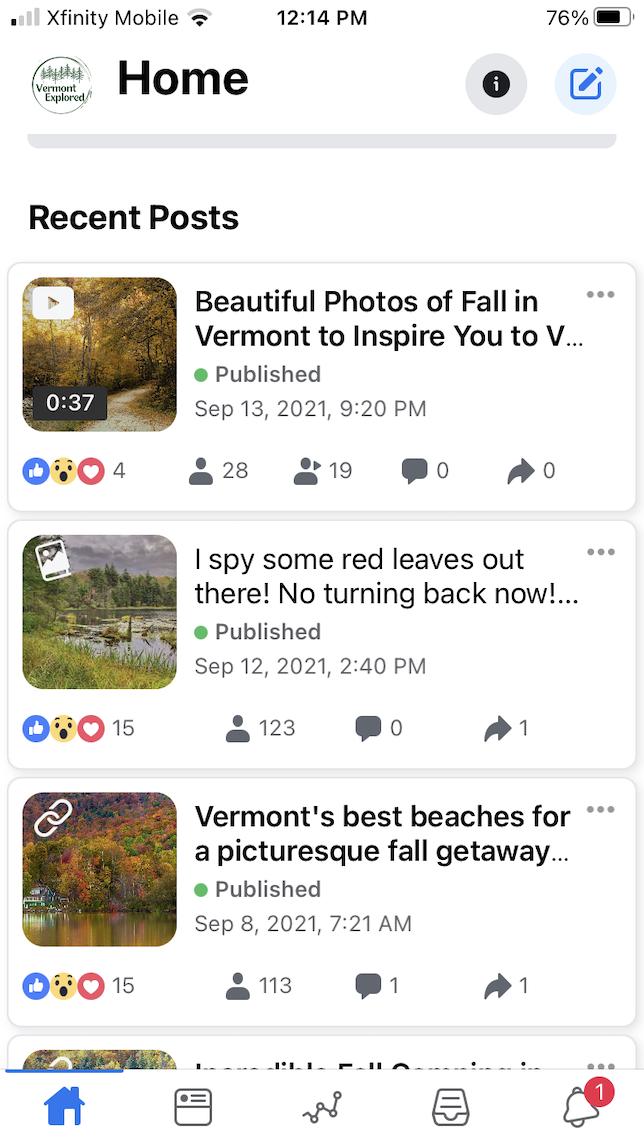 Screenshot showing recent posts created for Facebook in Creator Studio.