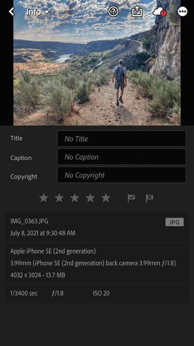 A screenshot showing the info tab in Lightroom showing pixel dimensions.