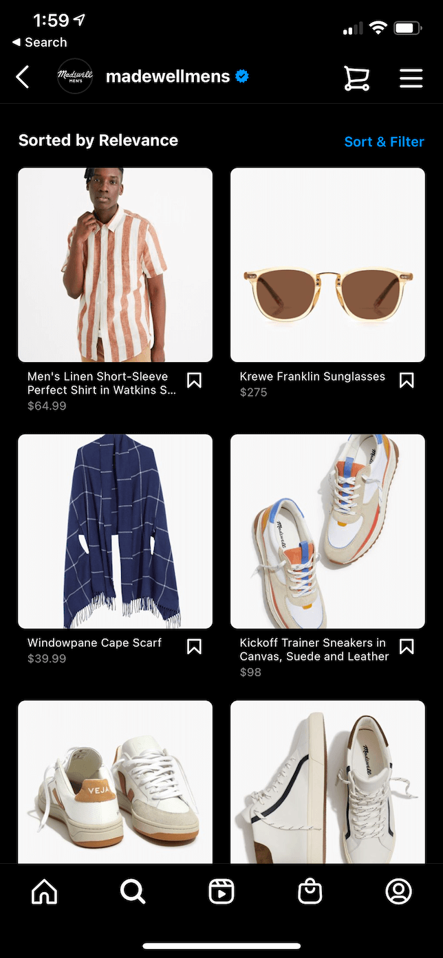 Screenshot of an Instagram shop.