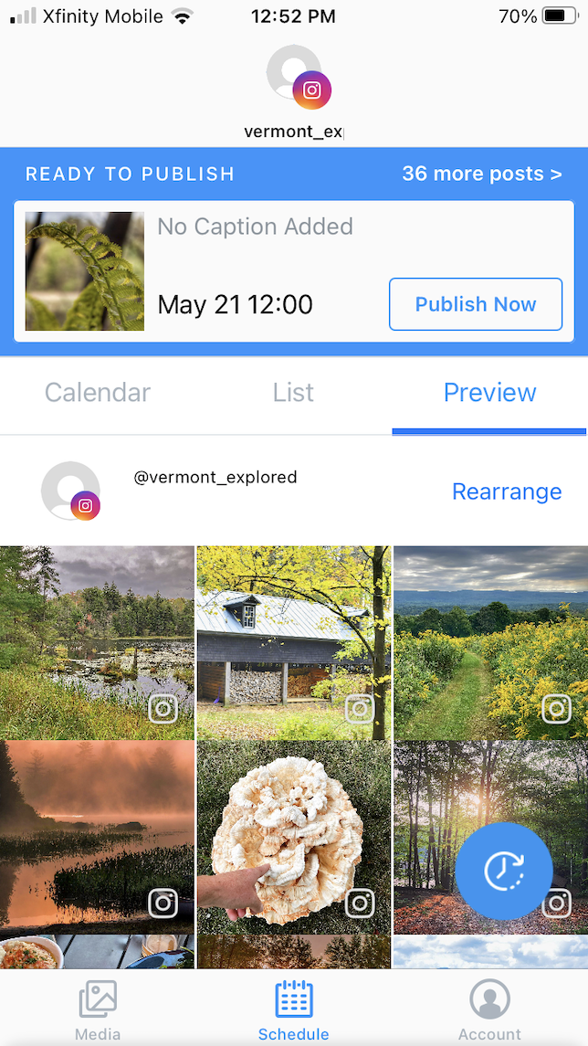 Screenshot of Later for Instagram scheduling.