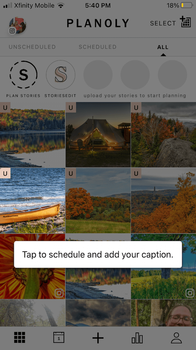 A screenshot showing how Planoly lets you preview your Instagram feed.