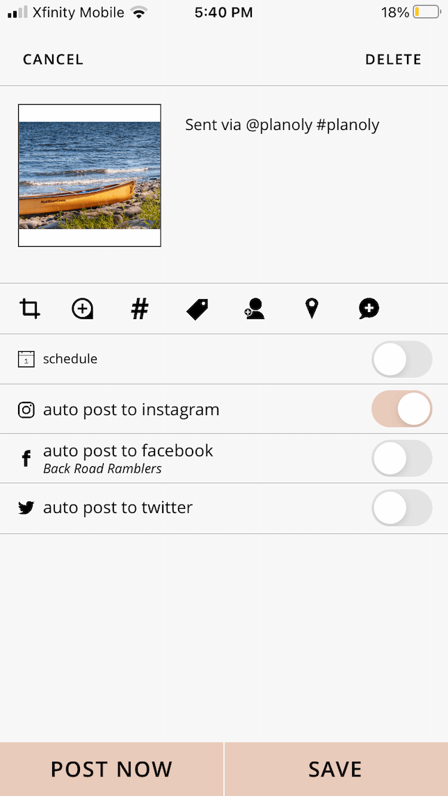 A screenshot demonstrating how to schedule a post to Instagram using Planoly.