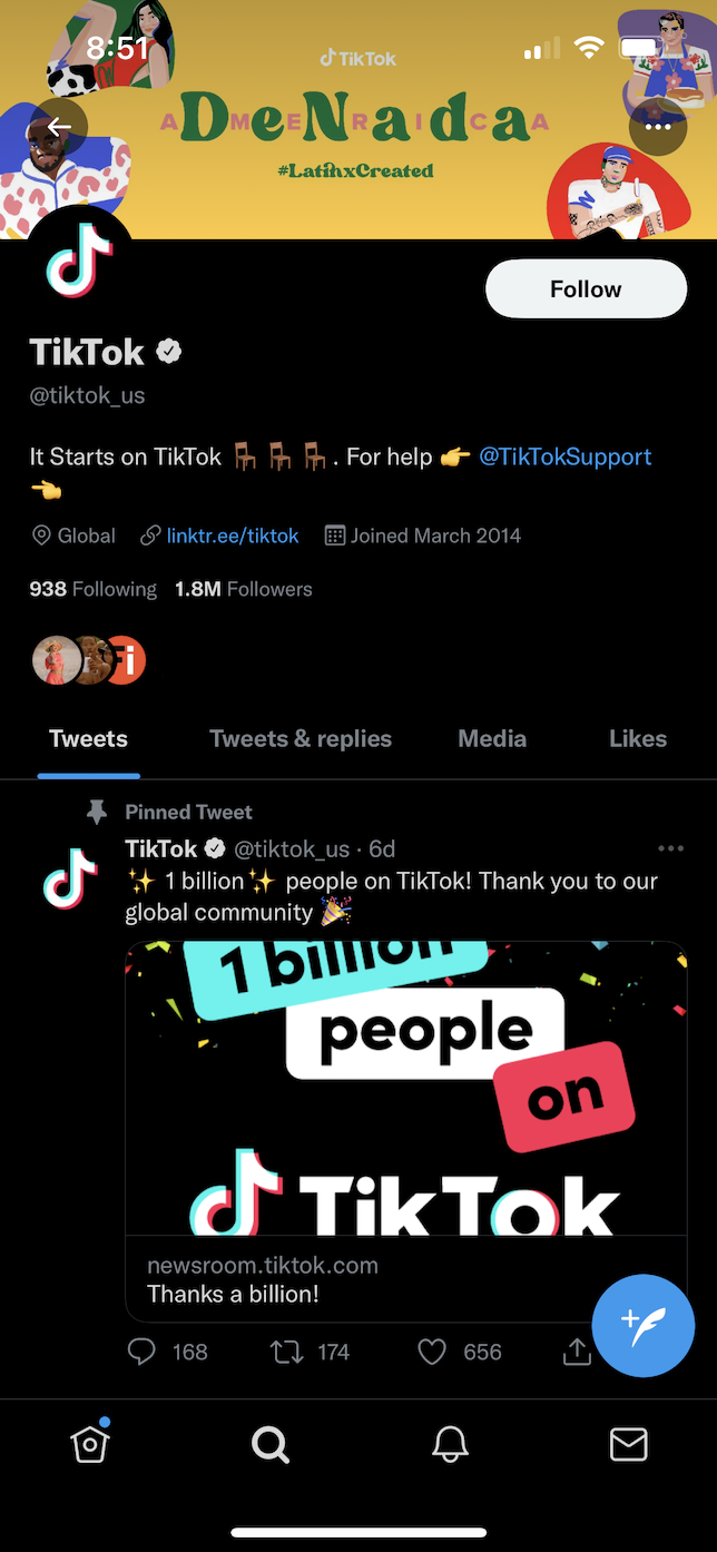 Screenshot of TikTok verified on Twitter.